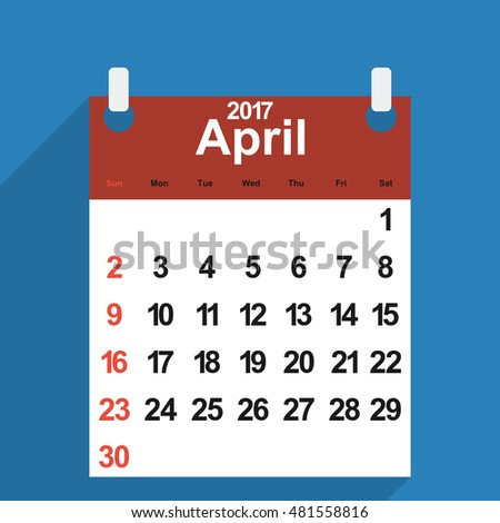 Leaf calendar 2017 with the month of April days of the week and dates