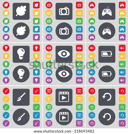 Leaf, Camera, Gamepad, Light bulb, Vision, Battery, Brush, Media player, Reload icon symbol. A large set of flat, colored buttons for your design. Vector illustration - stock vector