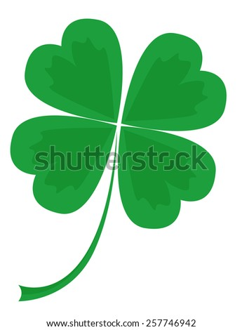 leaf clover with four petals, vector illustration - stock vector