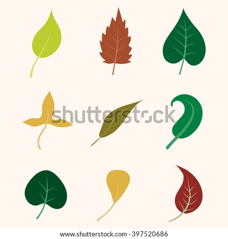Leaf collection. Leaf icons