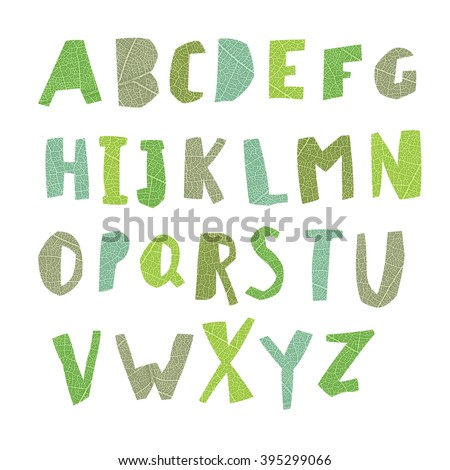 Leaf Cut Alphabet. Easy edited colors of letters. Capital letters. Each letter in separate group and ready for use. Good for ecology, environment, nature, organic themed designs - stock vector