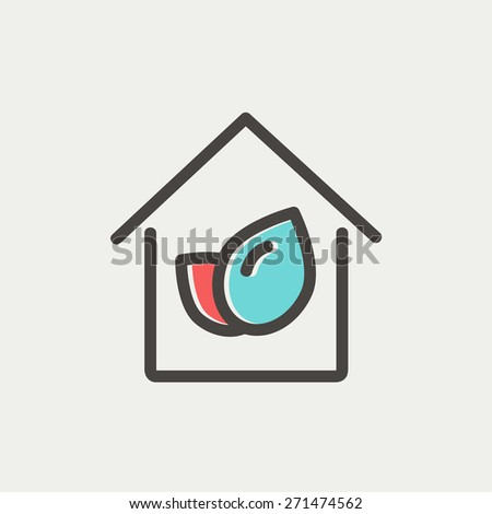 Leaf house icon thin line for web and mobile, modern minimalistic flat design. Vector icon with dark grey outline and offset colour on light grey background. - stock vector