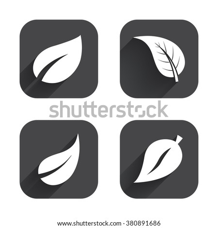 Leaf icon. Fresh natural product symbols. Tree leaves signs. Square flat buttons with long shadow. - stock vector