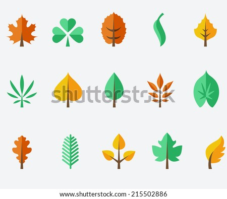 Leaf icon set - stock vector