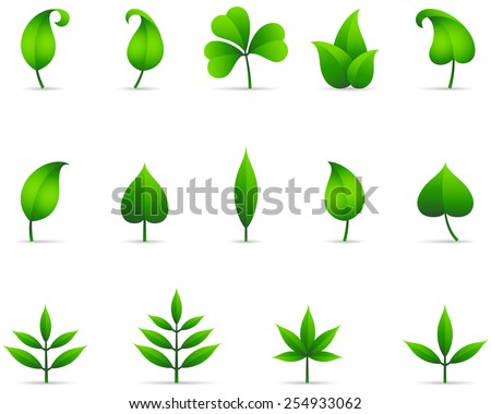 Leaf Icons - Set of fresh green leaf icons with shadows.  File is layered, and each leaf is grouped separately for easy editing.  Colors are just a few global swatches, so they can be modified easily. - stock vector