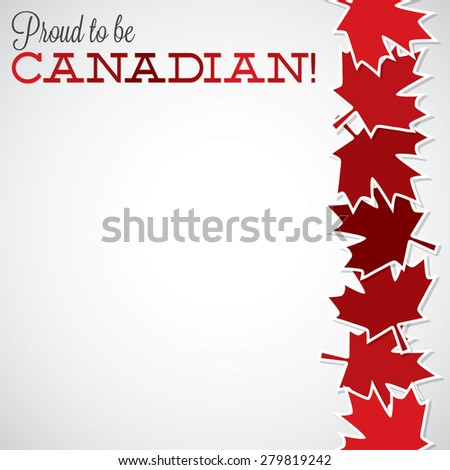 Leaf line Canada Day card in vector format. - stock vector