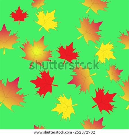 leaf, maple, isolated, seamless background - stock vector