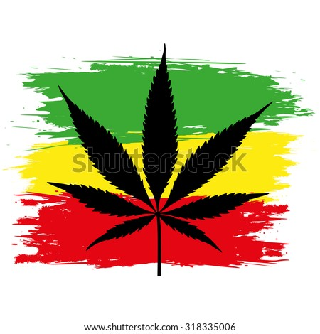Leaf of cannabis (marijuana) and flag of Ethiopia isolated on white. Vector illustration.  - stock vector
