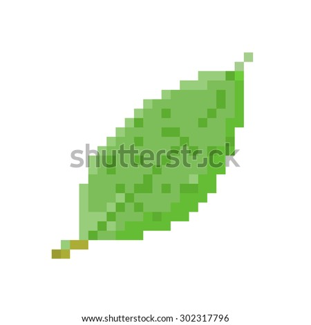 leaf pixel vector. - stock vector