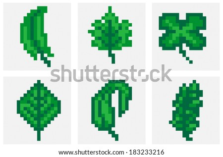 Leaf set. Pixel art