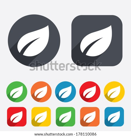 Leaf sign icon. Fresh natural product symbol. Circles and rounded squares 12 buttons. Vector - stock vector