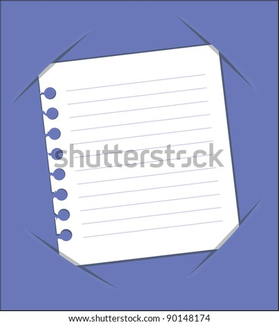 leaf torn from a notebook (note poster postcard vector)