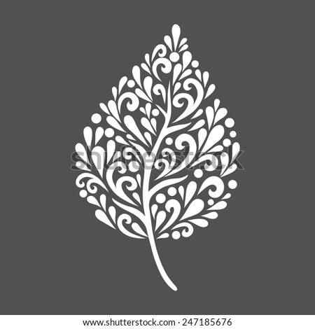 Leaf. Vector decoration made from swirl shapes. Simple decorative gray and white illustration for print, web. - stock vector