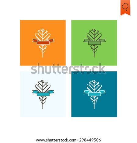 Leaf with Ribbon for Text. Single Flat Autumn Icon . Simple and Minimalistic Style. Vector - stock vector