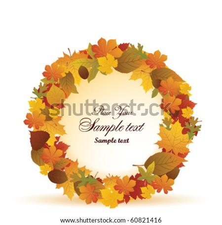 leaf wreath - stock vector