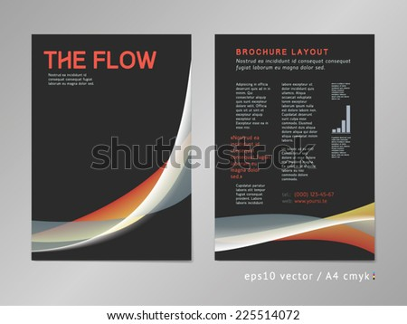 Leaflet / brochure / cover / page layout template. Color blend design, geometric soft shapes, serious three-colored dark print style. Smooth flow theme. Business, development and progress concept. - stock vector