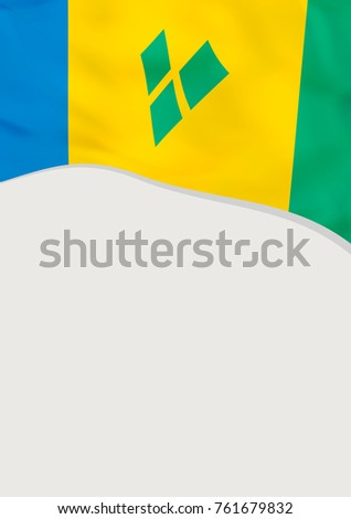 Leaflet design with flag of Saint Vincent and the Grenadines. Vector template.
