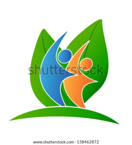 Leafs and happy people - stock vector