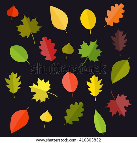 Leafs in autumn. Leafs in summer. Leafs in spring. Leafs random. Leafs on the black background. Leafs cartoon style. Leafs vector illustration.  - stock vector