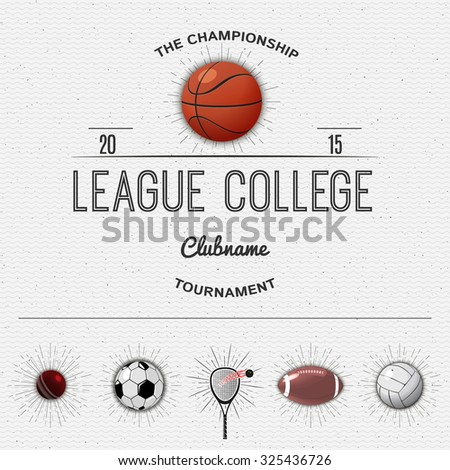 League college insignia  and labels football, basketball, volleyball, squash, tennis, cricket, rugby, American football, insignia  and labels It can be used for design - stock vector