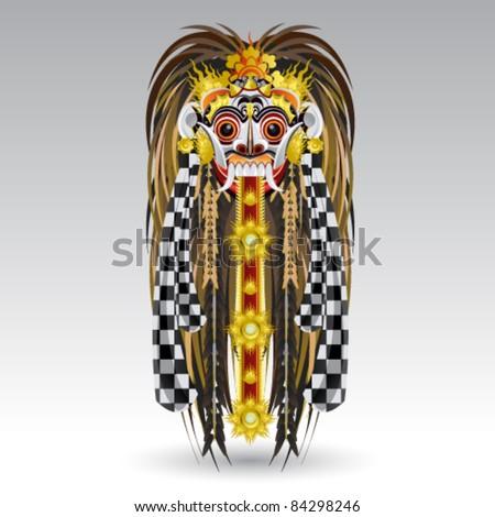 Leak Traditional Bali Demon Mask - stock vector