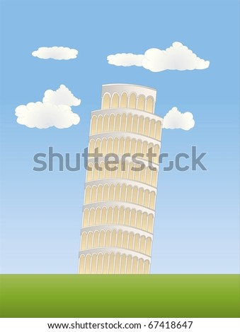 leaning tower in pisa ( background on separate layer ) - stock vector