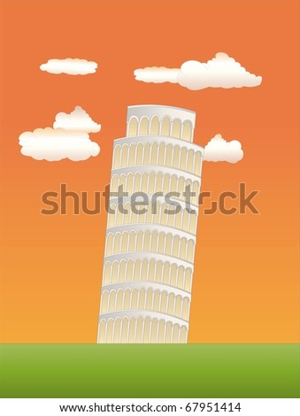 leaning tower of pisa at sundown ( background on separate layer ) - stock vector