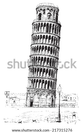 Leaning tower of Pisa or Tower of Pisa, vintage engraved illustration. Dictionary of words and things - Larive and Fleury - 1895. - stock vector