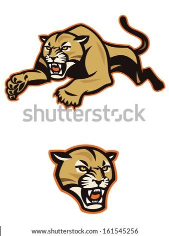 Leaping Cougar Golden cougar/mountain lion leaping through the air. - stock vector