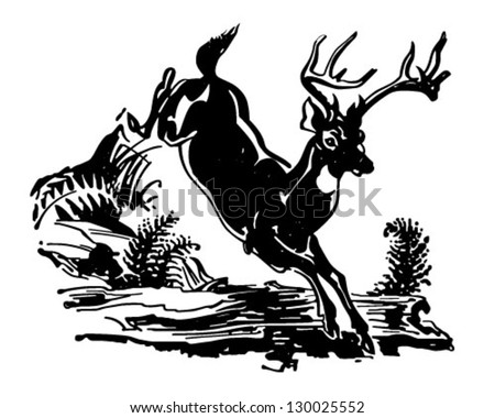 Leaping Deer - Retro Clip Art Illustration - stock vector