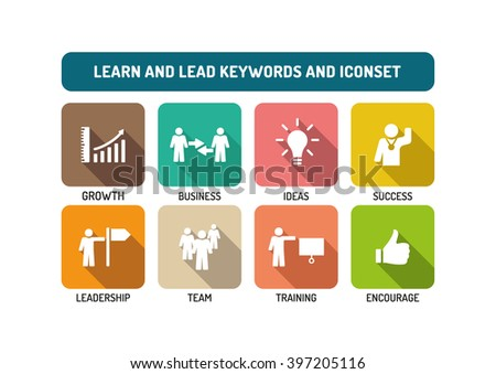 Learn and Lead Flat Icon Set - stock vector