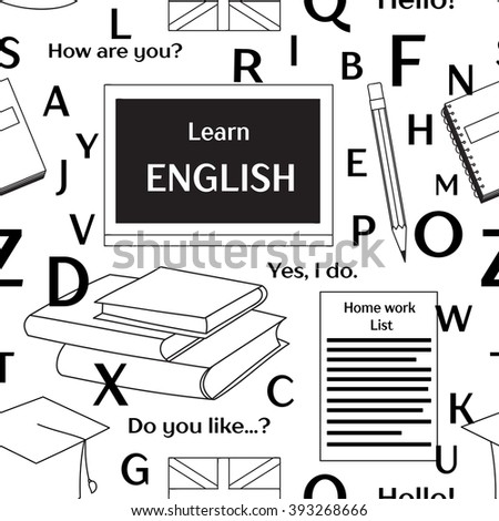 Learn english concept pattern - stock vector
