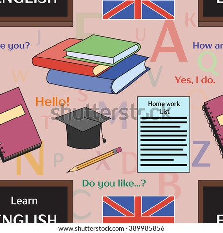 Learn english concept pattern. Books, training, education. Vector illustration, EPS 10 - stock vector