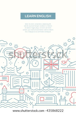 Learn English - vector line design brochure poster, flyer presentation template, A4 size layout with British famous symbols and landmarks - stock vector