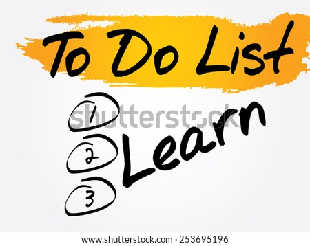 Learn in To Do List, vector concept background - stock vector