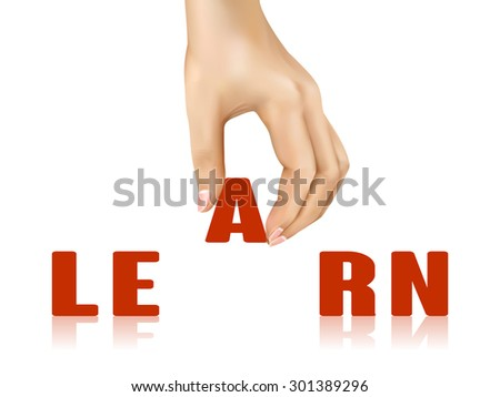 learn word taken away by hand over white background