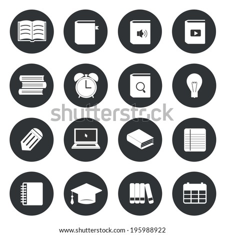 Learning education circle icons set - stock vector
