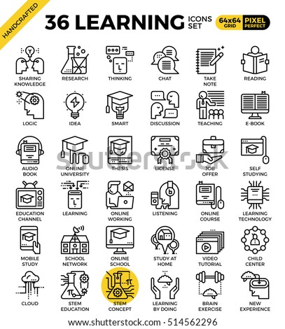Learning, education concept, outline icons concept in modern style for web or print illustration