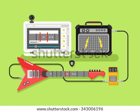 Learning guitar online. Musical guitar amplifier and pick, flat vector illustration - stock vector