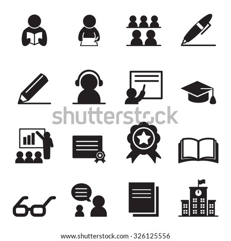 Learning icon set - stock vector