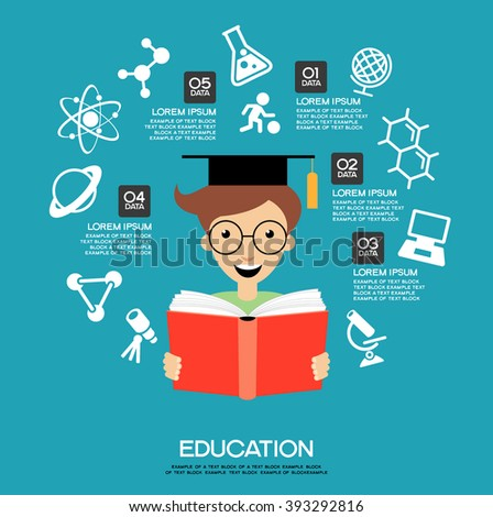 Learning infographic Template. Concept  education. Child with a book surrounded by icons. - stock vector