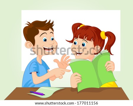 Learning Together Cartoon - stock vector