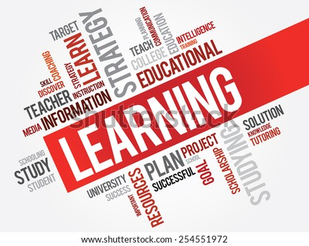 LEARNING word cloud, business concept - stock vector