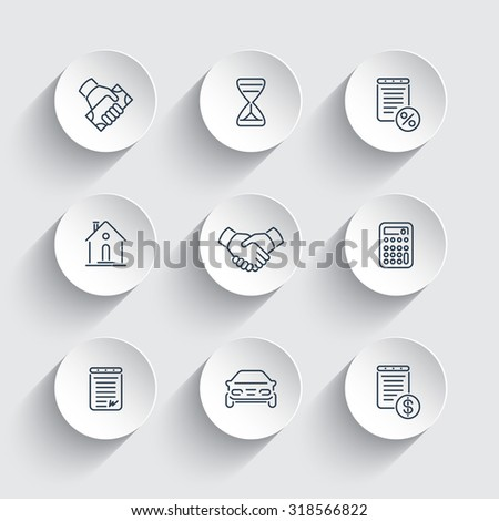 Leasing, banking, loan, line round icons, vector illustration - stock vector