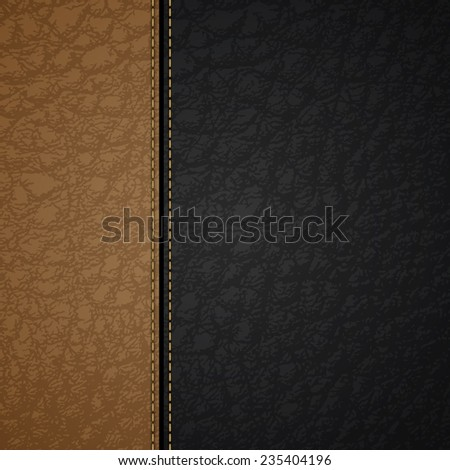 Leather background with a brown and black stripes and stitches - stock vector