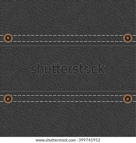 Leather background with stitches and rivets. Vector illustration