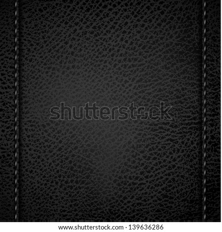 Leather background with vertical stitches - eps10 - stock vector
