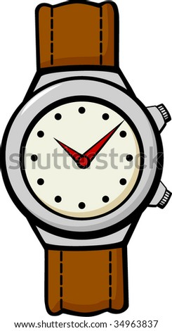 leather band wrist watch - stock vector