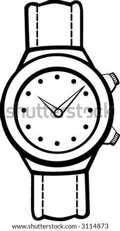 leather banded watch - stock vector