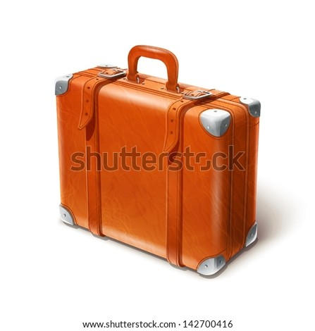 leather big suitcase vector illustration isolated on white background EPS10. Transparent objects and opacity masks used for shadows and lights drawing - stock vector